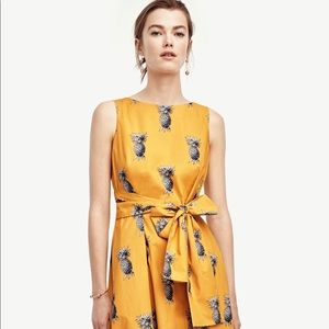 EUC Ann Taylor Yellow Belted Pineapple Dress